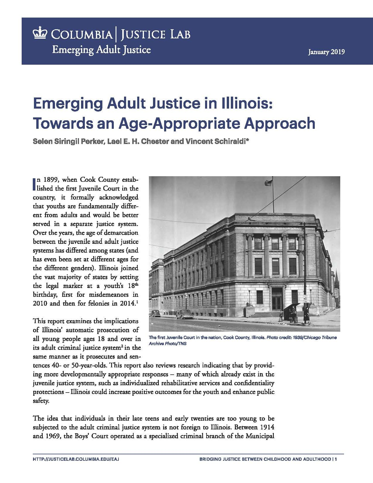 Emerging Adult Justice in Illinois: Towards an Age-Appropriate Approach