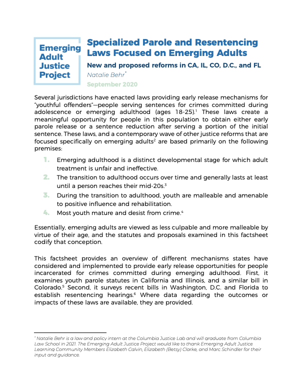 Specialized Parole and Resentencing Laws for Emerging Adults