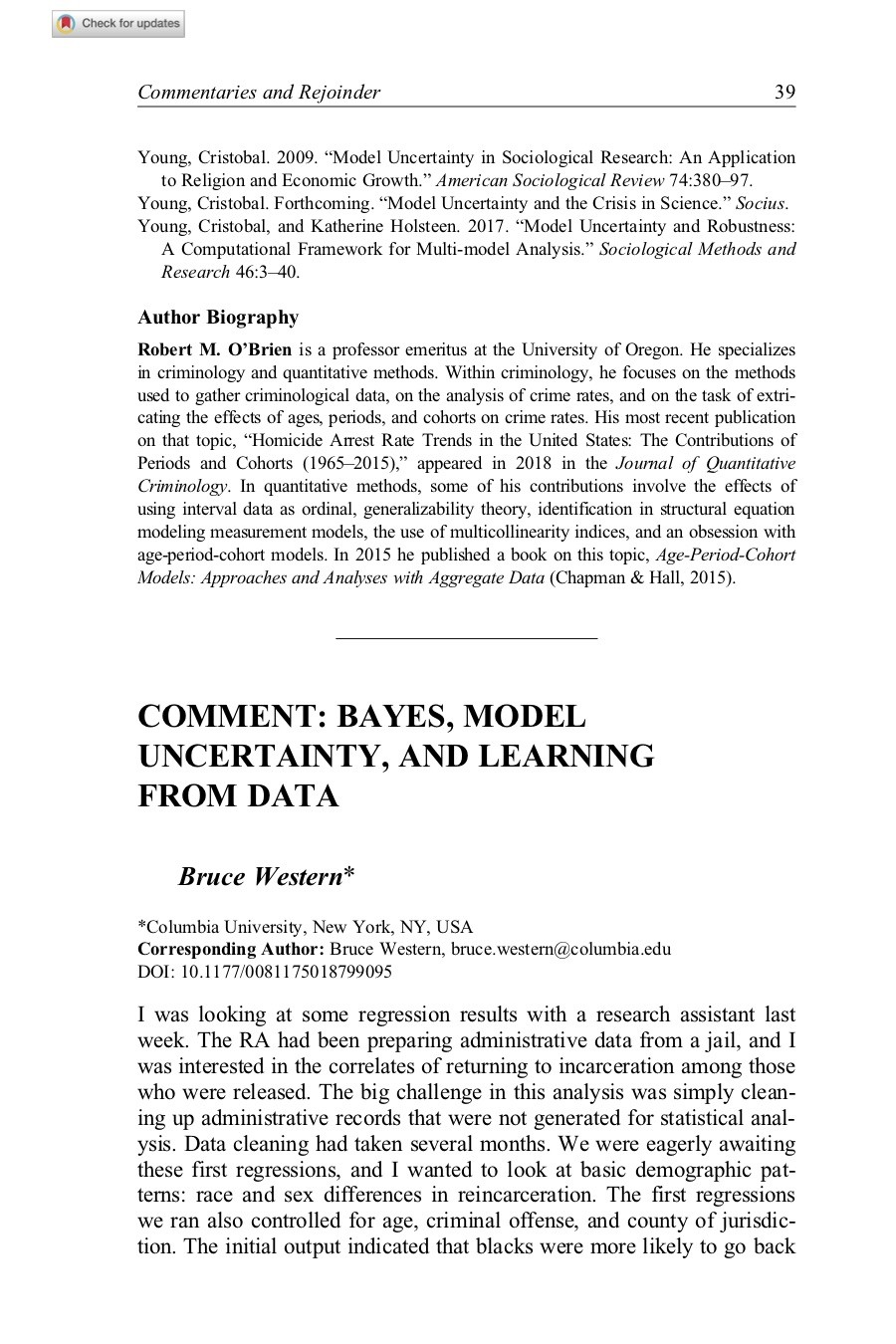 Bayes, Model Uncertainty, and Learning from Data