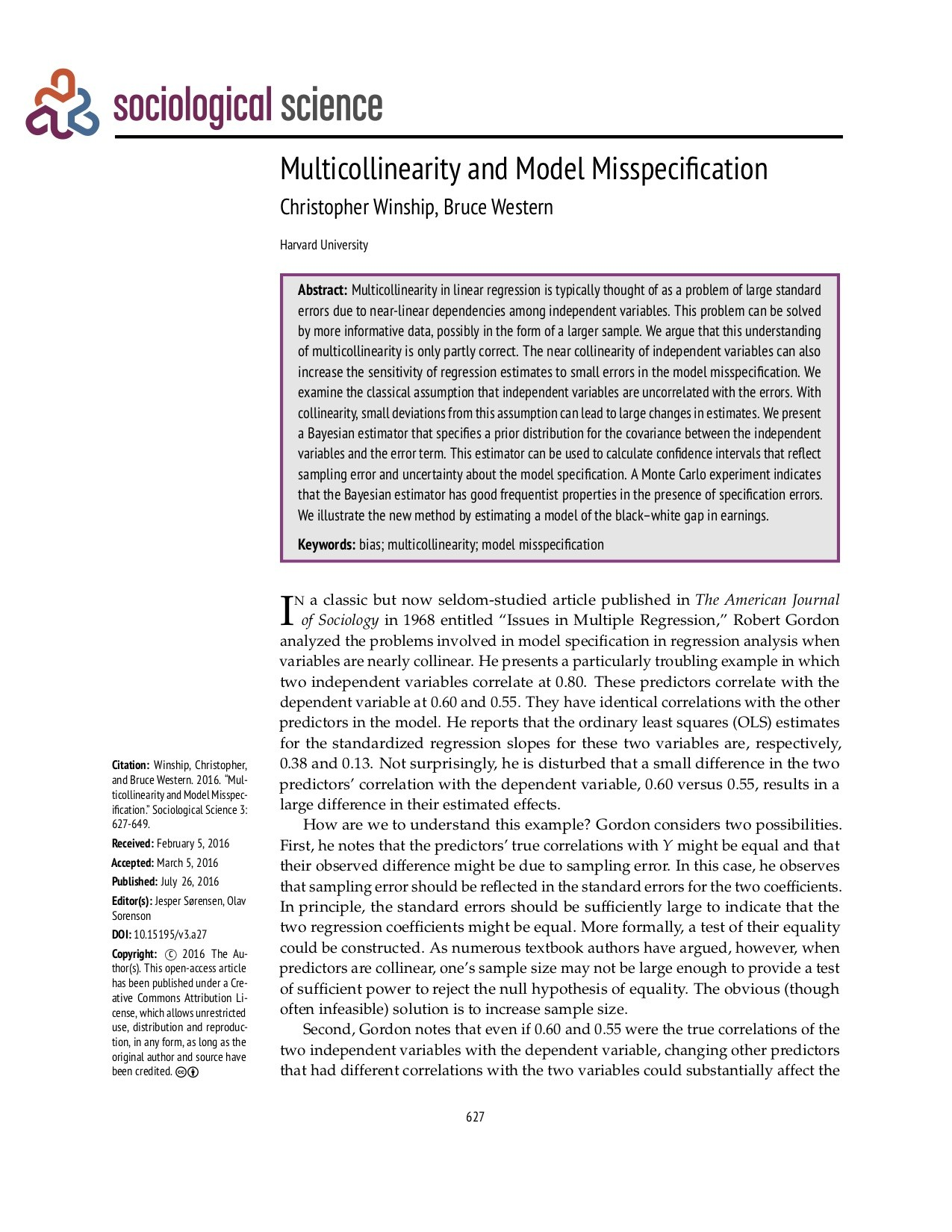 Multicollinearity and Model Misspecification