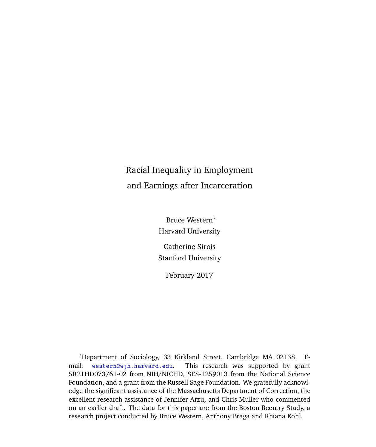 Racial Inequality in Employment and Earnings after Incarceration