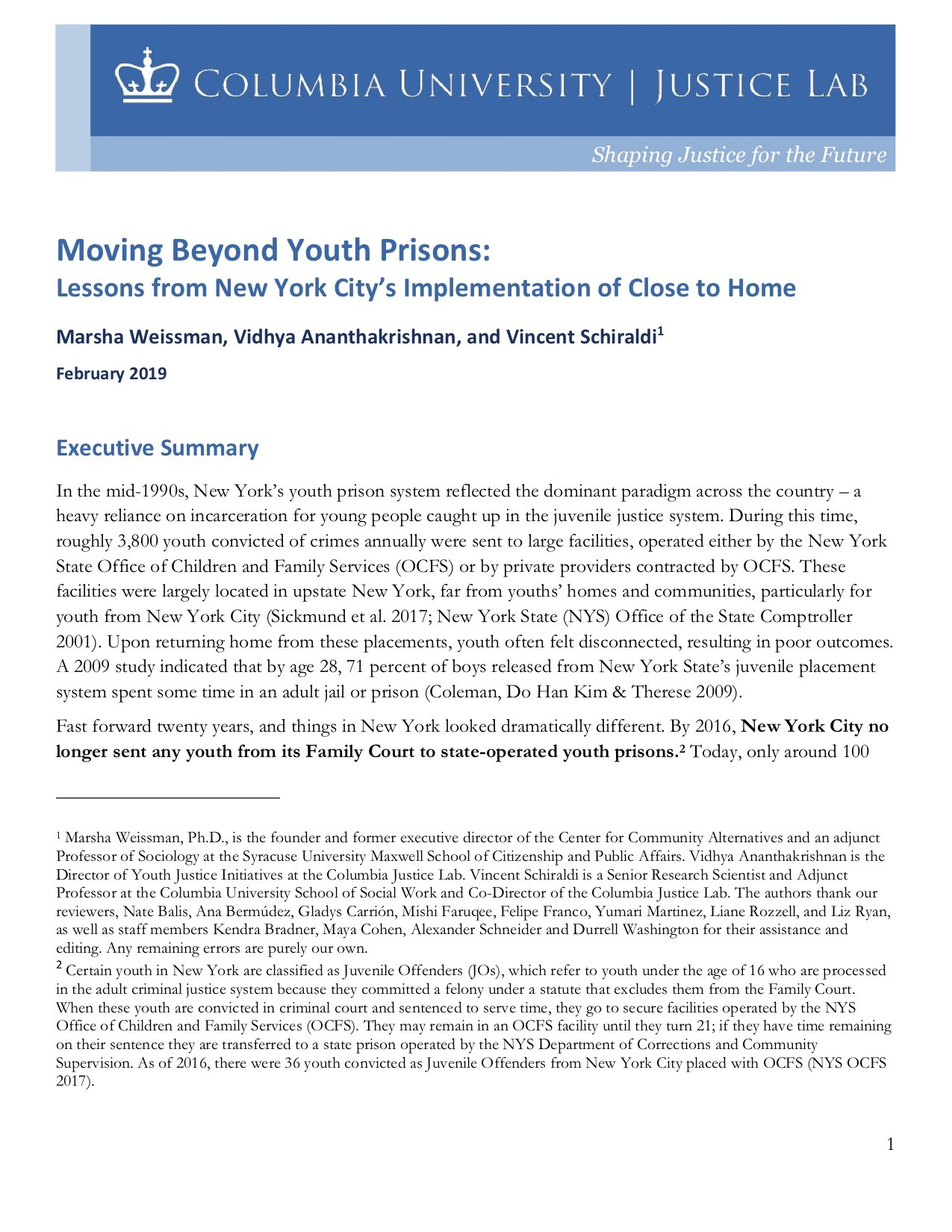 Moving Beyond Youth Prisons: Executive Summary